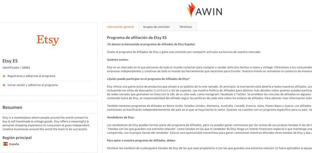 Etsy y Awin programa de afiliados
