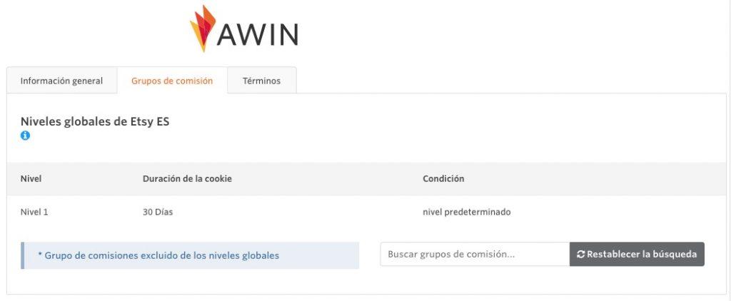 grupo y nivel de comisiones Awin