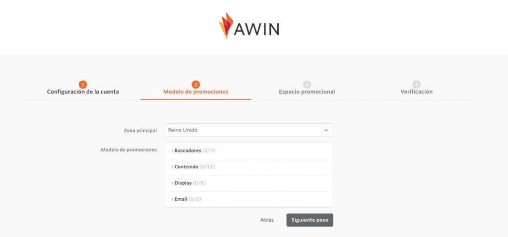 segundo paso registro Awin afiliados