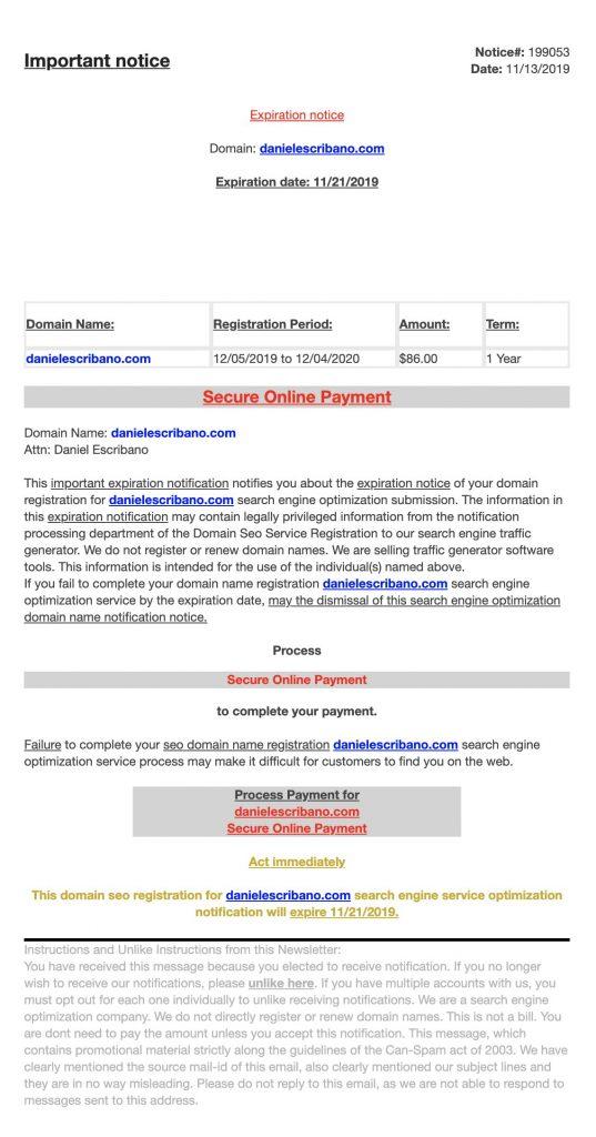 estafa en renovacion dominio por email