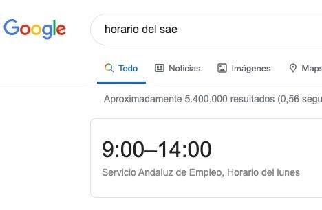 horario sae en google