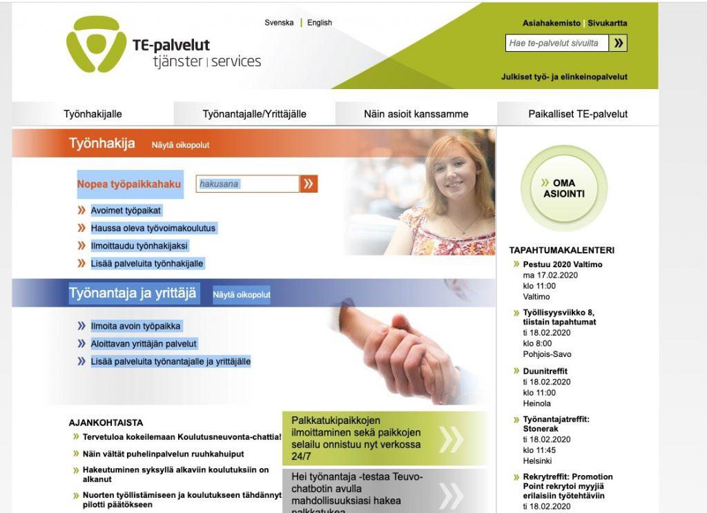 pagina de trabajo de finlandia