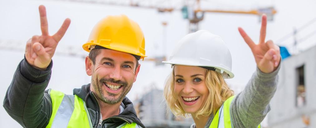 trabajadores felices