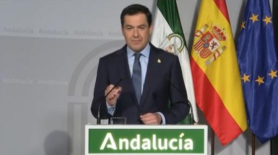 Juanma Moreno anuncia la suspensión de las clases presenciales
