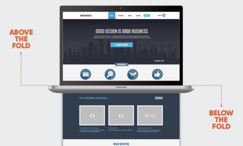 above the folds de una pagina web