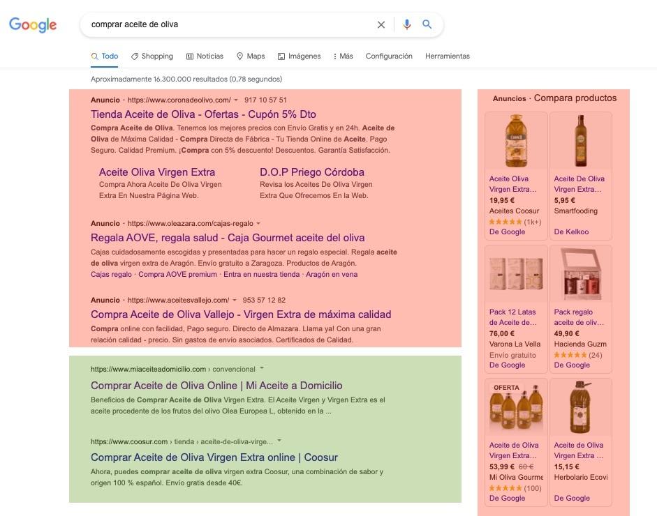 anuncios de google y parte de búsquedas orgánica